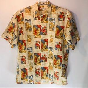 Vtg Pierre Cardin Hawaiian Shirt Floral Print Men